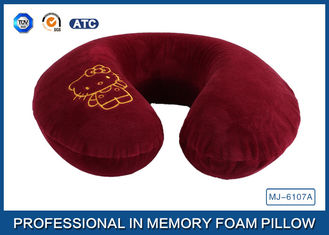 China Cartoon Embroidery Comfortable Memory Foam Travel Neck Pillow Violet / Red / Blue supplier